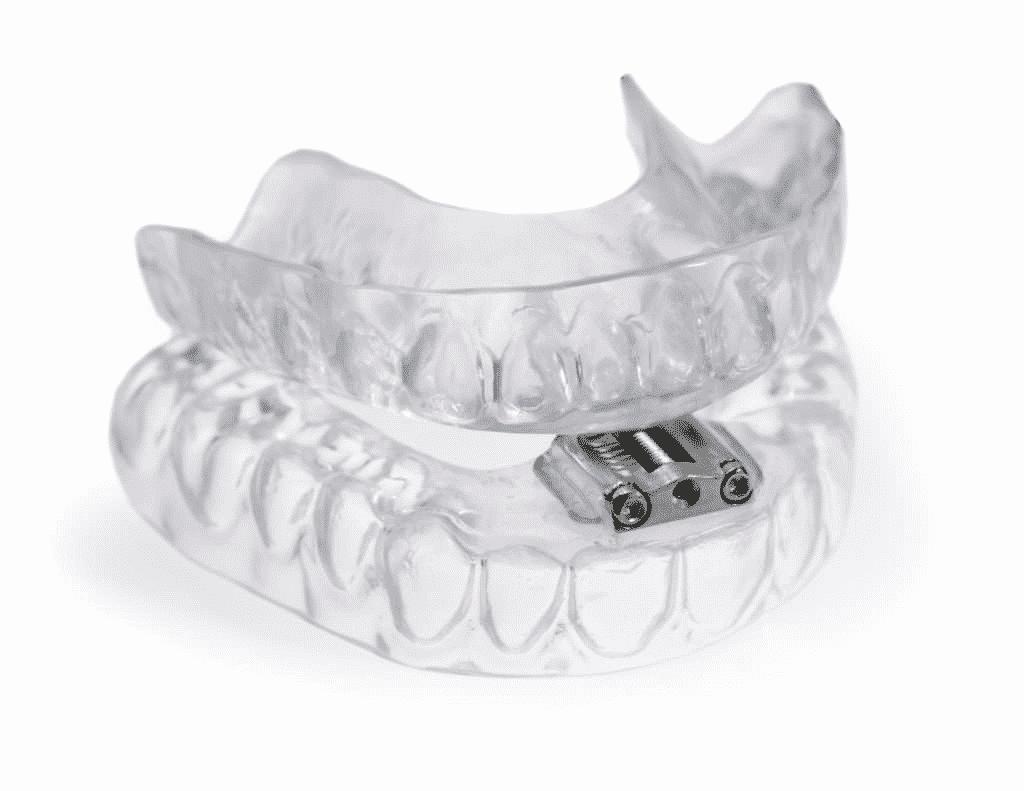 a transparent set of dentures